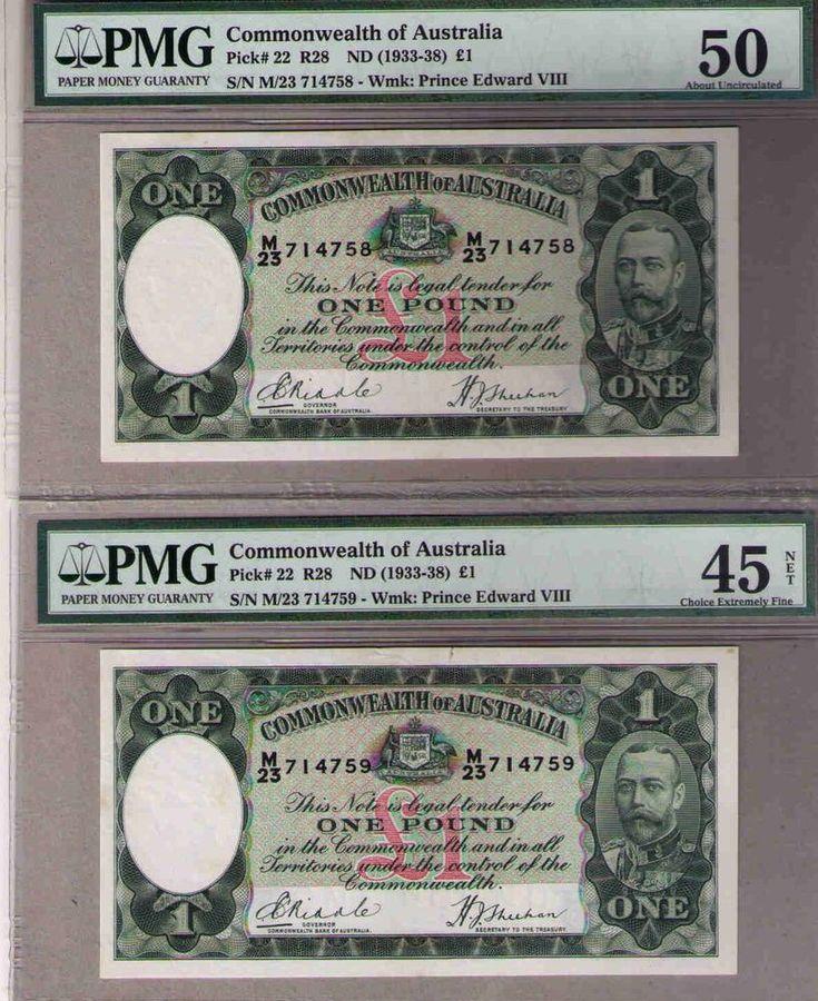 Australia,1933 R28 Pick#22 £1, CONSECUTIVE PAIR Riddle/Sheehan, R28-PMG 50 45 EF