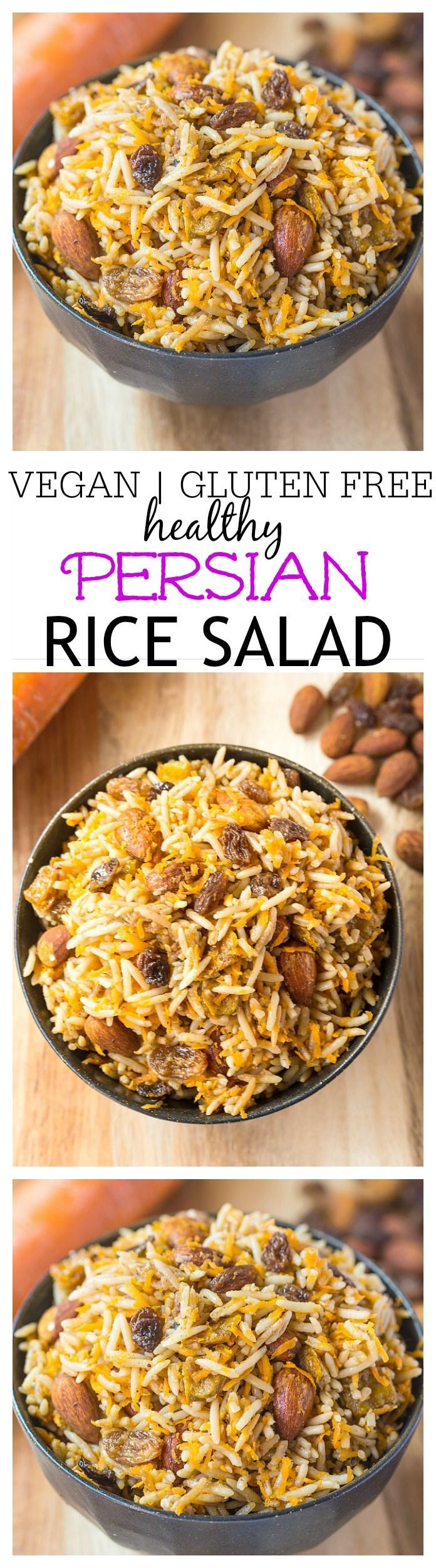 Vegan Persian Rice Salad- A delicious, Persian style sweet and savoury salad based off almonds, raisins and fragrant basmati rice. Perfect eaten hot or cold, this salad is vegan, gluten free, dairy free, light and fresh- Perfect for any meal, especially a mother's day brunch! @thebigmansworld -thebigmansworld.com