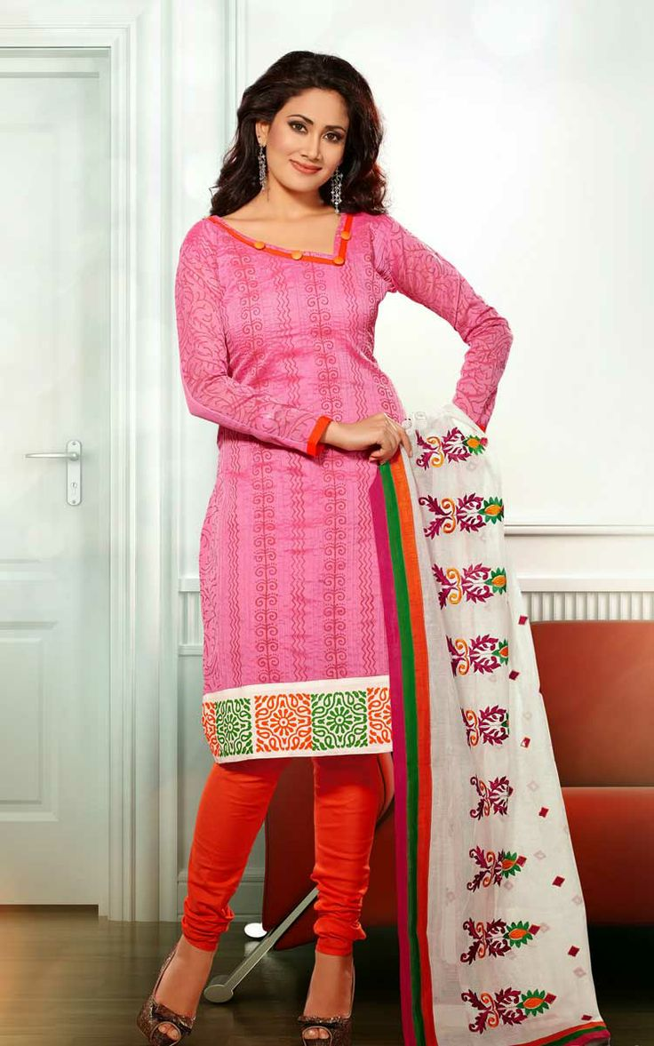 PINK & RED CHANDERI COTTON SALWAR KAMEEZ - RUD 33001D