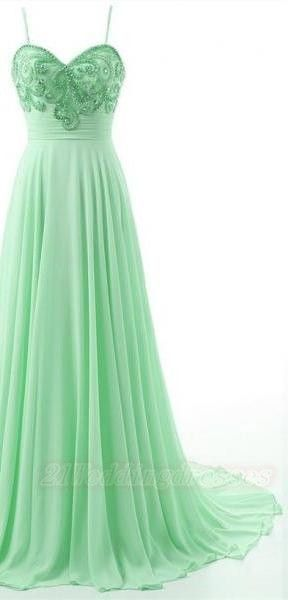 Spaghetti Strpa Long Prom Dresses,Beading Evening Dress,Backless Evening Gown,Formal Dress by fancygirldress, $159.00 USD