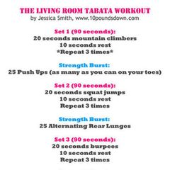 Living room workout: Room Tabata, Living Rooms, Living Room Workout, Fitness, Work Outs, Exercise, Body Weight, Quick Workout