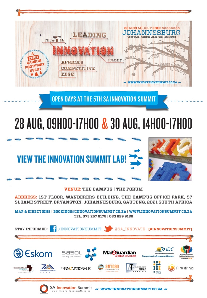 28 August is LAB OPEN DAY at the 5th SA Innovation Summit! Bring the whole family to visit the innovation summit lab! View the latest in design innovation, technology innovation and much more!