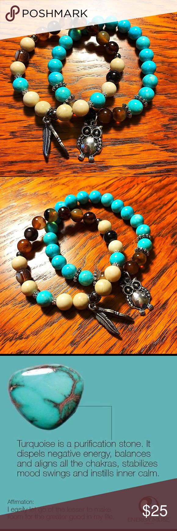 Turquoise and Tiger Eye Chakra Gemstone bracelets Stress relieving bracelets. Turquoise and Tiger-eye paired to help combat stress and produce an inner calm. 🙏🏻 Who couldn't use that?? Lol! Adorned with an owl for wisdom to make the right choices and feathers just because I liked them🙃!!! Sold as set none Jewelry Bracelets