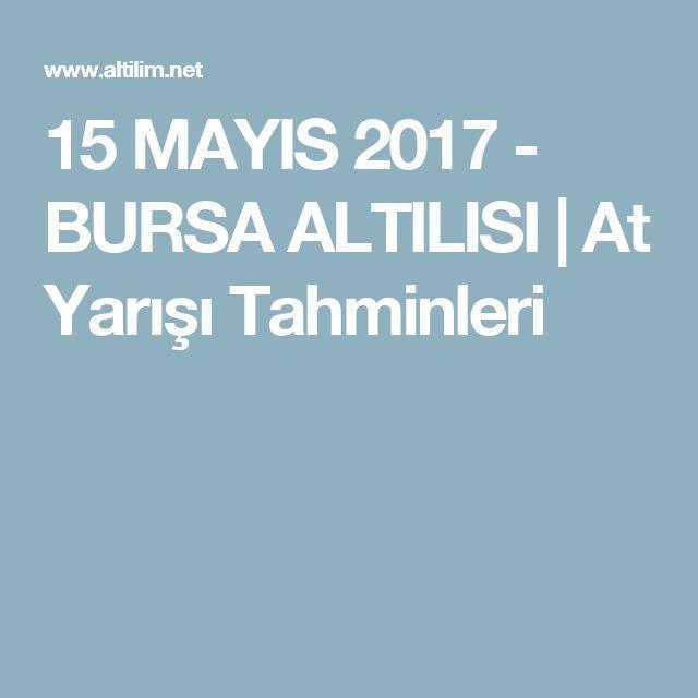 15 MAYIS 2017 - BURSA ALTILISI | At Yarışı Tahminleri