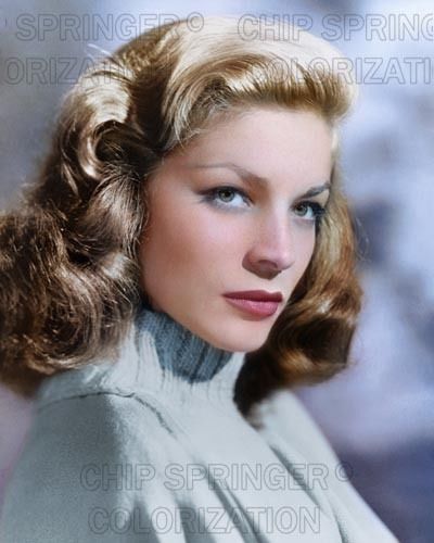 LAUREN BACALL IN BLUE SWEATER STUNNING COLOR PHOTO BY CHIP SPRINGER. Please visit my Ebay Store at http://stores.ebay.com/x5dr/_i.html?rt=nc&LH_BIN=1 to see the current listings of your favorite Stars now in glorious color! Message me if you would like me to relist your favorites. Check out my New Youtube videos at https://www.youtube.com/channel/UCyX926rA5x4seARq5WC8_0w