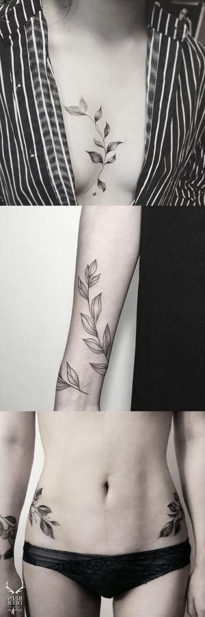 Black and White Large Flower Leaf Sternum Tattoo - Vine Arm Sleeve Hip Tat - MyBodiArt.com by bonnie #TattooDesignsArm