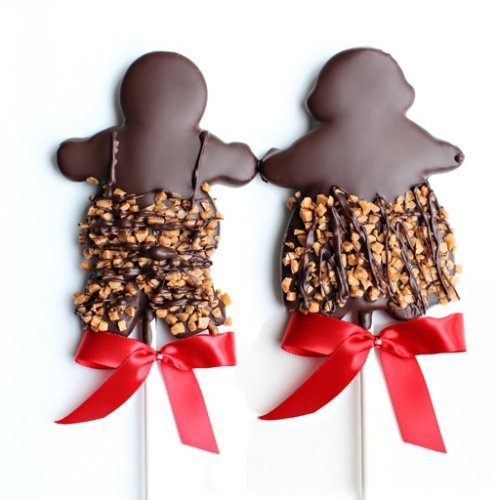 Gourmet sugar and ginger cookies on a stick, hand dipped in Belgian chocolate. A perfect gift for the holidays.