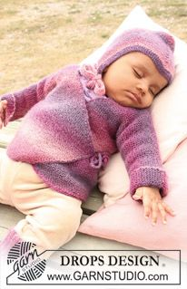 """Knitted DROPS wrap-around jacket in garter st, socks and hat in """"Delight"""". ~ DROPS Design"""
