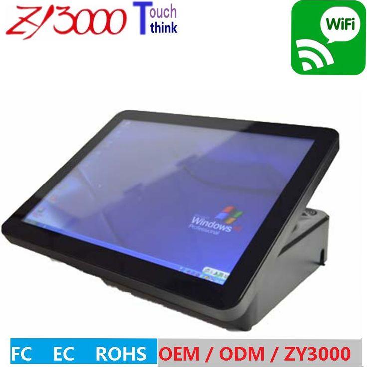 Дешевые оптовая 5 шт/много 15 дюймов все в одном емкостный мульти сенсорный экран Пос терминал WIFI внутри С Подставкой И адаптер