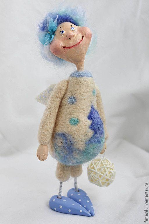 Купить Виолетта - голубой, ангел, ангелочек, подарок на новый год, подарок на рождество, новогодний подарок