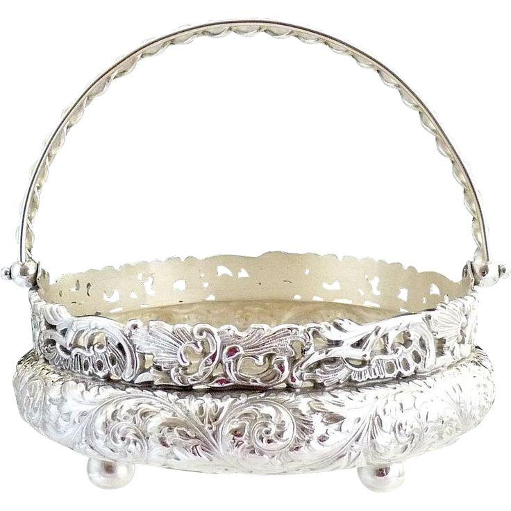Art Nouveau silver basket bon bon Simpson Hall Miller c. 1890s
