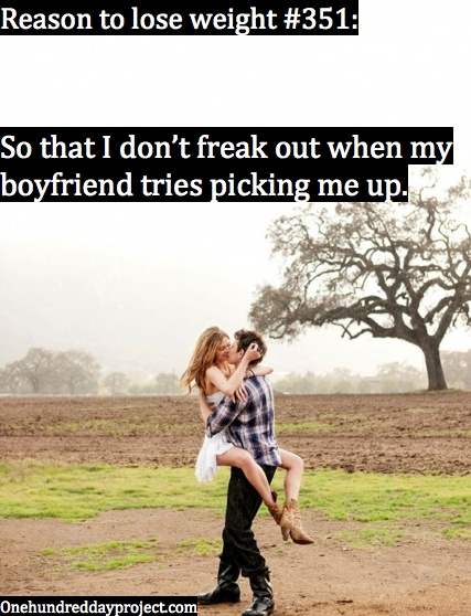 He picks me up and I feel bad about it :p One day I'll be confident enough to jump into his arms!