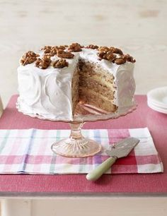 Mary's Frosted Walnut Layer Cake ~ sponge cake with boiled icing, buttercream, and caramelised walnuts ~ GBBO s6e1 technical challenge | recipe by Mary Berry via BBC Food | also at http://thegreatbritishbakeoff.co.uk/mary-berrys-frosted-walnut-layer-cake-technical-challenge/