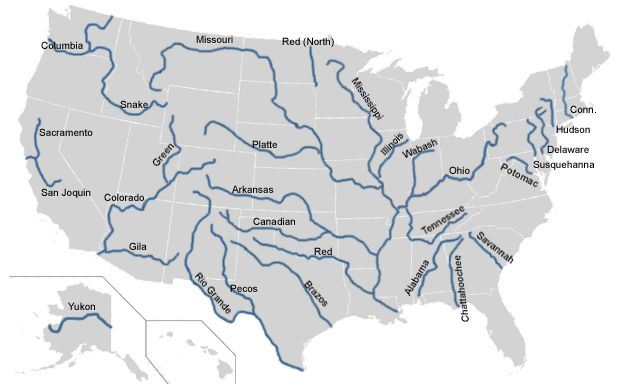 Labeled Map Of Rivers In USA Learn Something New Every Day - Major rivers in usa map