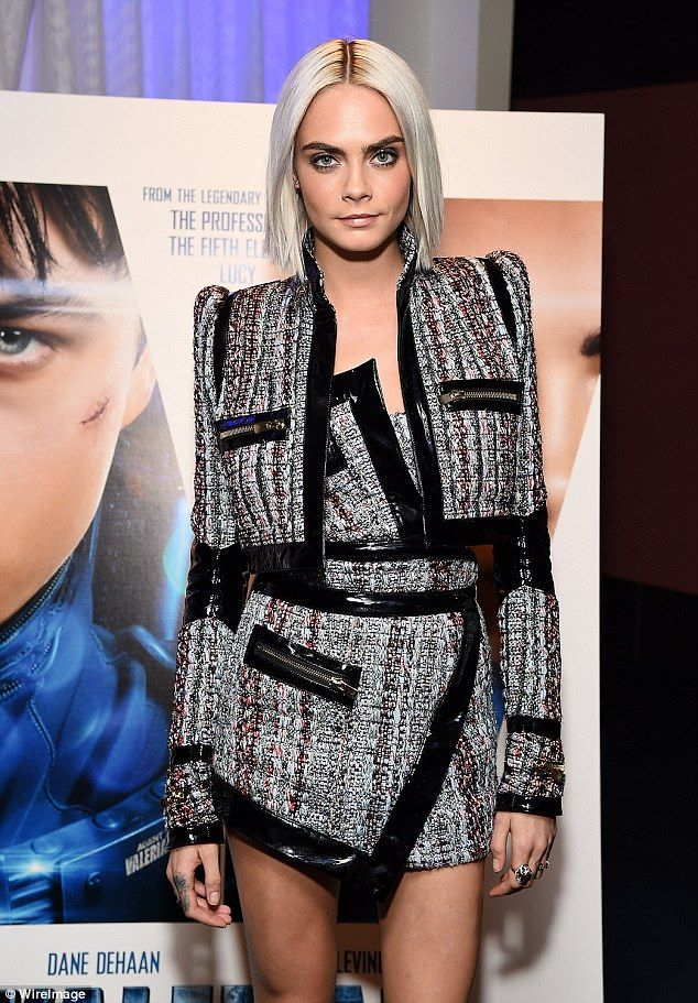 Cara Delevingne shows off long legs in futuristic outfit | Daily Mail Online