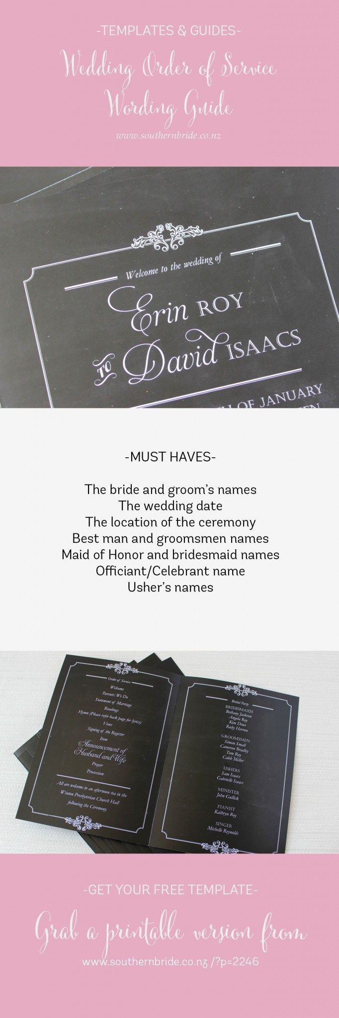 Wedding Order of Service Wording Template http://www.southernbride.co.nz/wedding-order-service-wording-template/