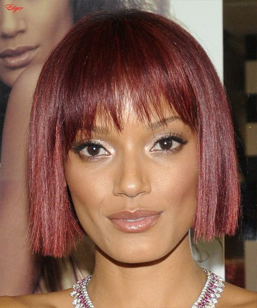 Red Hot Bob - Very sweet bob with angled font fringes for short thin hair.