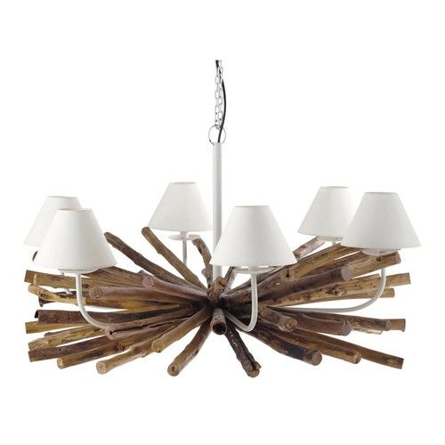 RIVAGE metal and mango wood 6 branch chandelier D 109cm