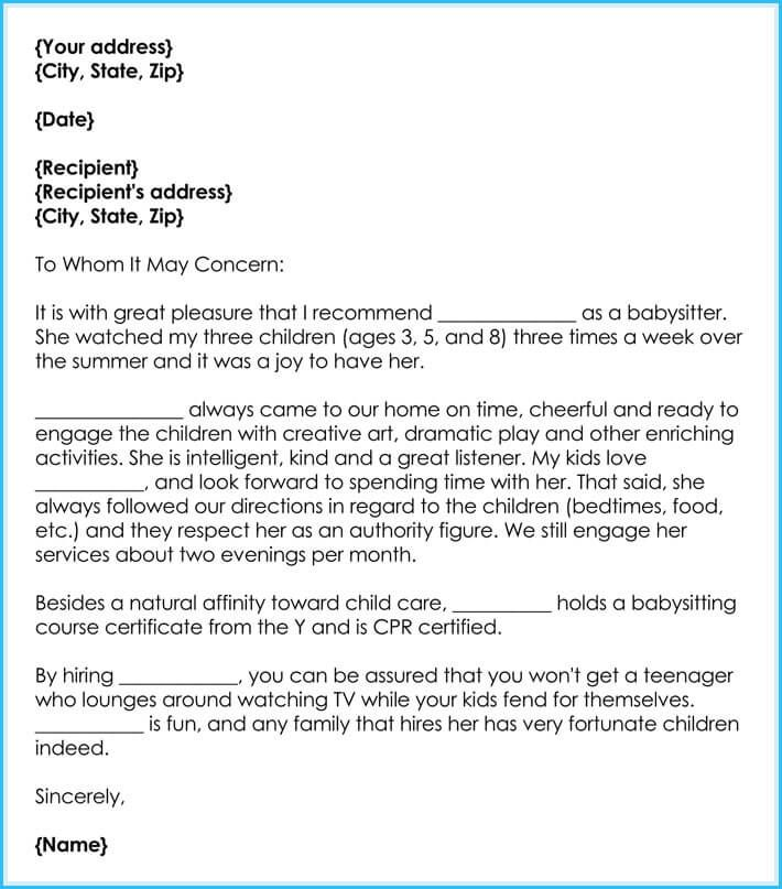 Recommendation Letter For Babysitter Example Feels Free To Follow