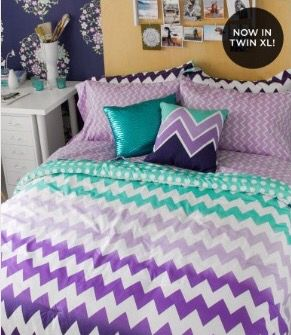 Cute Purple and Teal Chevron Ombré Bed Set From Aeropostale