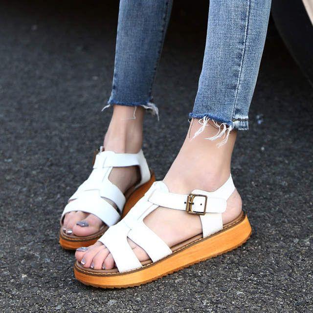 48da9542ea 100% genuine leather Roman sandals women luxury designer T-strap ...
