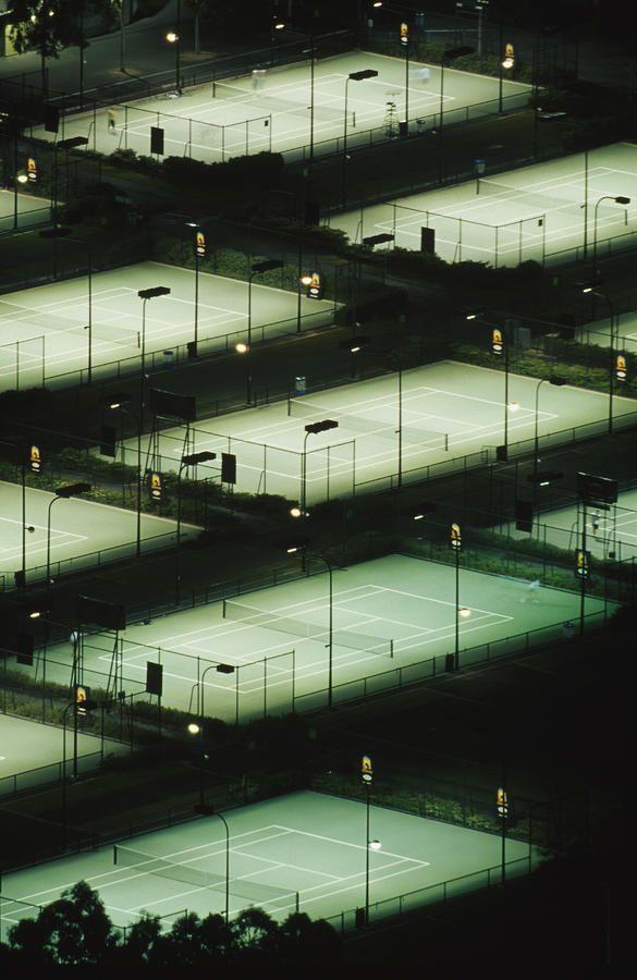 #Tennis courts at #night - Rod Laver Arena Tennis Complex