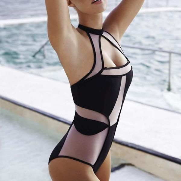 black nude mesh sheer swimwear see thru high cut out one piece swimsuit monokini bathing suits