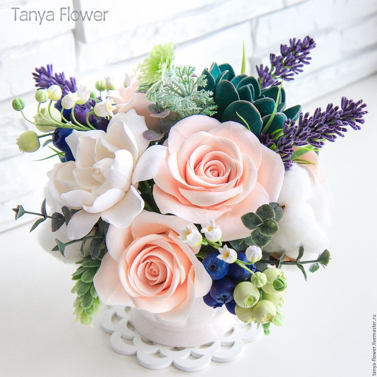 """Купить Букет цветов """"Лаванда и изумруд"""" с розами, ландышами и суккулентами - tanya flower, букеты из глины"""