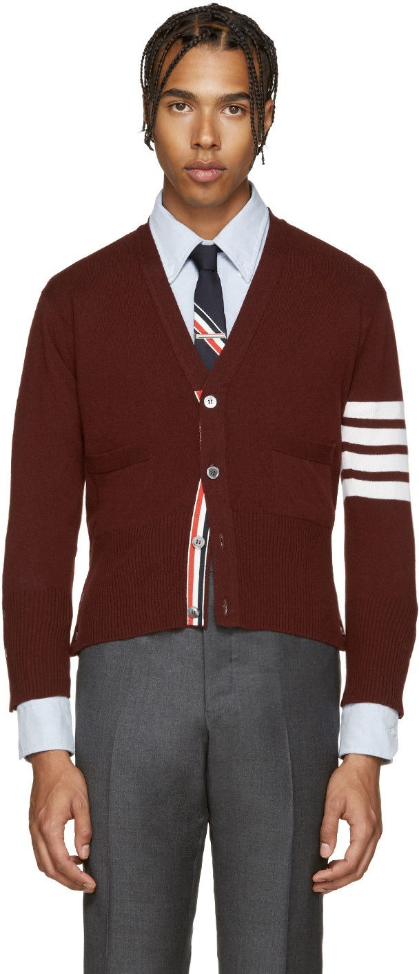 THOM BROWNE Red Cashmere Cardigan. #thombrowne #cloth #cardigan