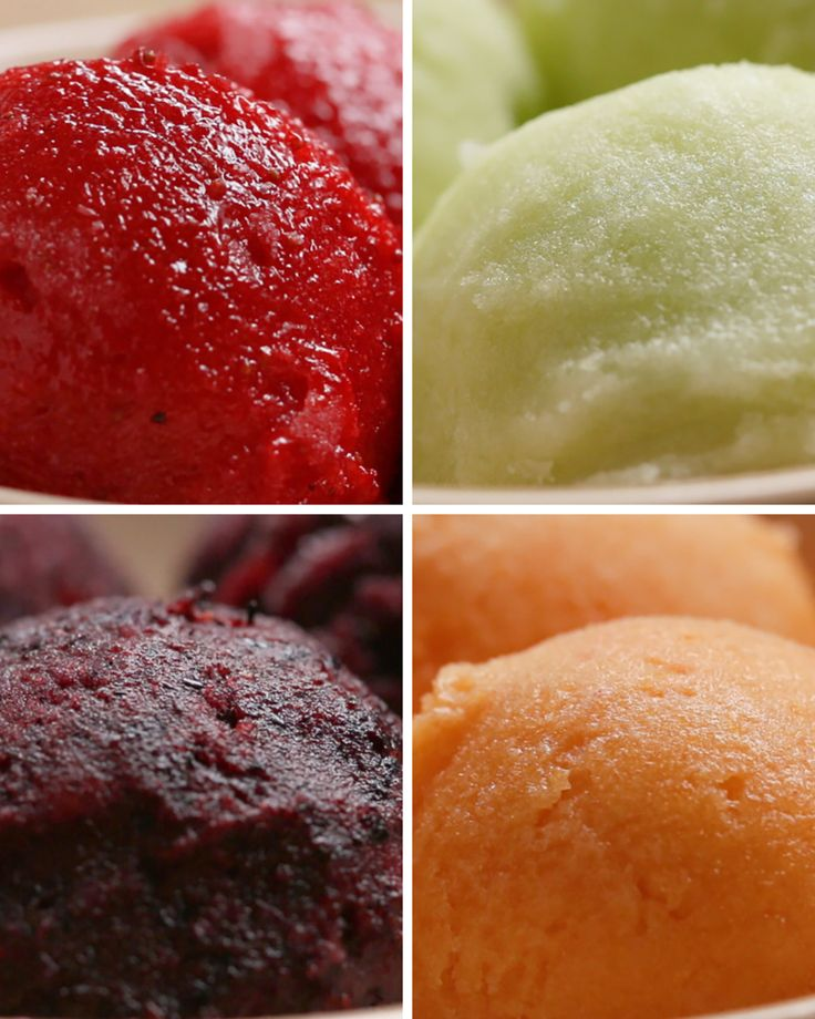 Sorbet...4 ways...Yes, even you can make it.  I believe the first one is supposed to be the fruit of strawberry....I think mistake in recipe.