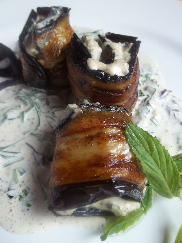 Eggplant with Mayonnaise and Herbs ready for serving - Copy