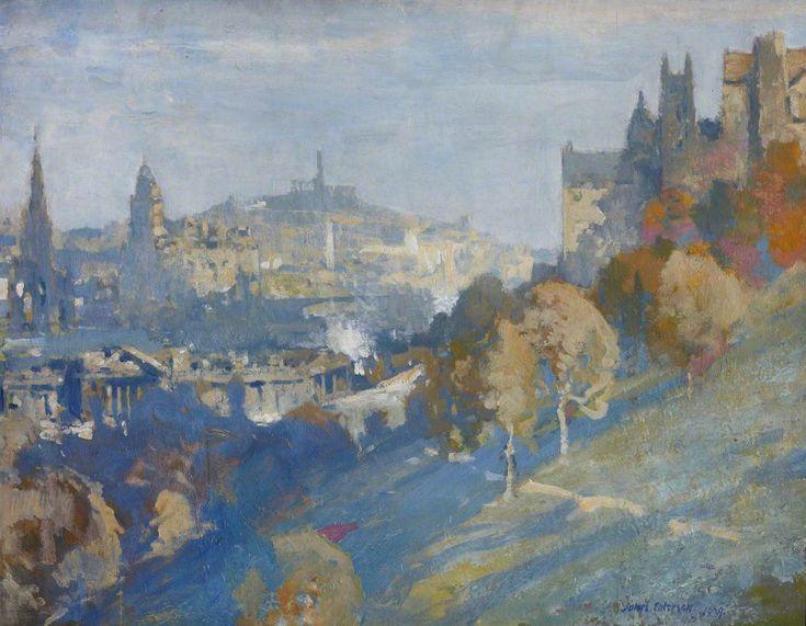 James Paterson (Scottish ,1854–1932) From the Castle to the Calton Hill,1929.Джеймс Паттерсон (шотландский, 1854-1932) От замка к Калтон Хилл, 1929. 詹姆斯·帕特森(苏格兰,1854年至1932年),从城堡到卡尔顿·希尔,1929年