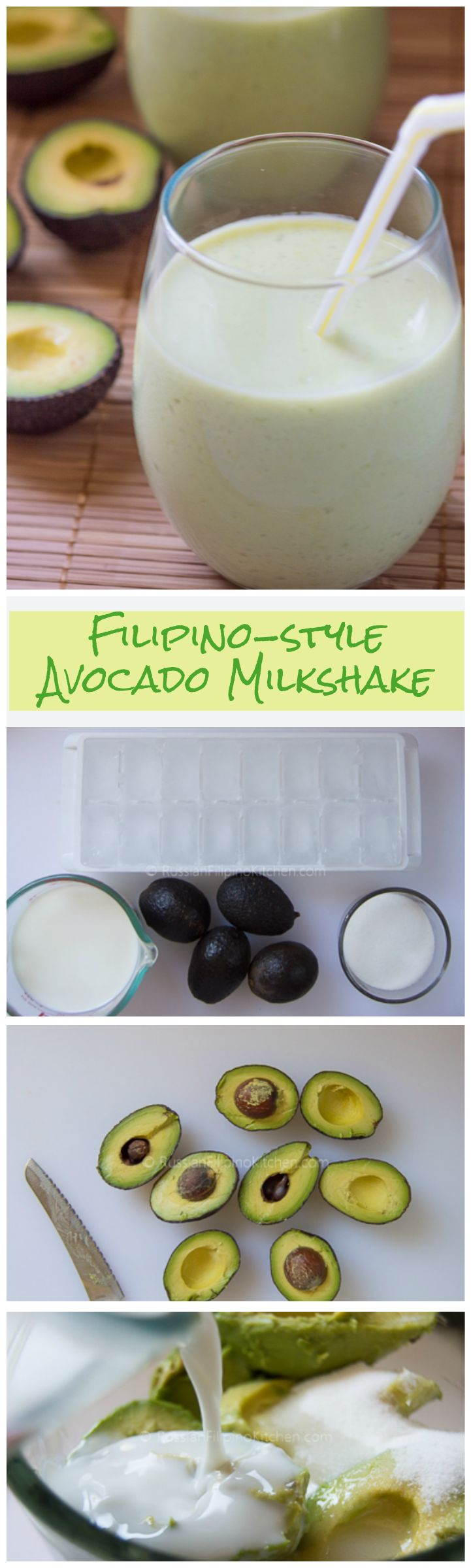 Quick and easy 4-ingredient avocado milk shake recipe.