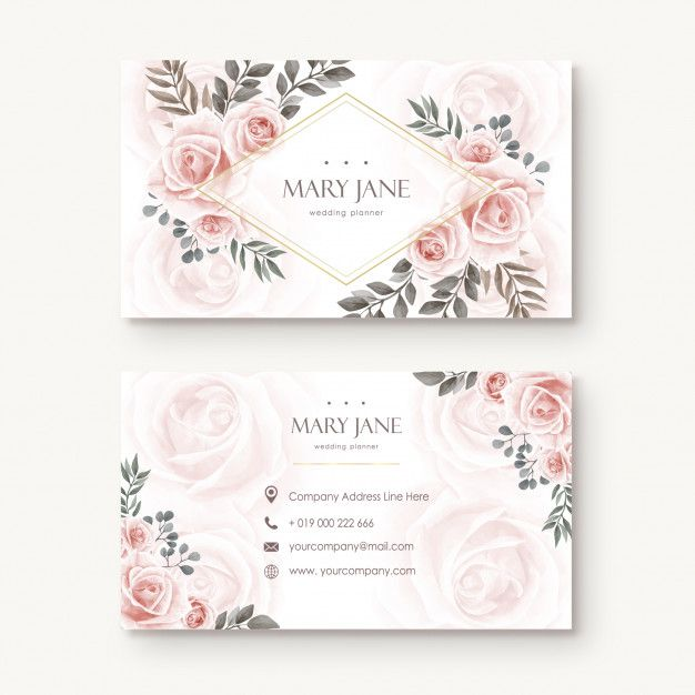 Vintage Watercolor Floral Flower Busines Card Premium Vector Free Vector Fr Floral Business Cards Graphic Design Business Card Free Printable Business Cards