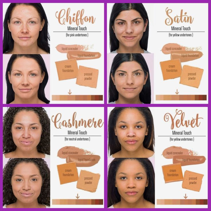Color chart for our Touch Mineral Foundation line & Skin Perfecting Concealer...Chiffon, Satin, Cashmere & Velvet! #Younique #ClickImageToShop #Questions #EmailMe sarahandbrianyounique@gmail.com or comment below