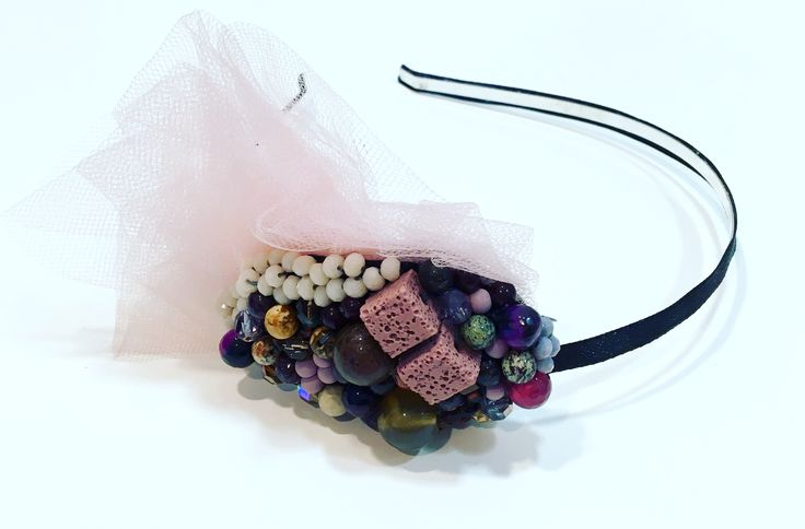Hairband with volcanic lava, tulle and agathe @botwinkaa