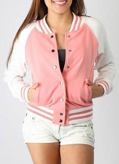 letterman jacket. mine is navy & gray. :)