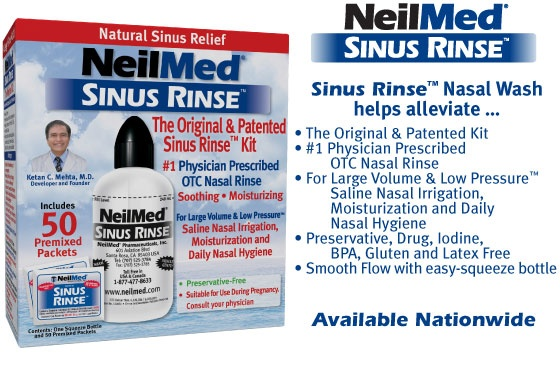 NeilMed Sinus Rinse is incredibly efficacious in the treatment of sinus blockage and for use as a daily sinus moisturizer. Just remember to keep your mouth open, breathing ONLY through your mouth, during the treatment.