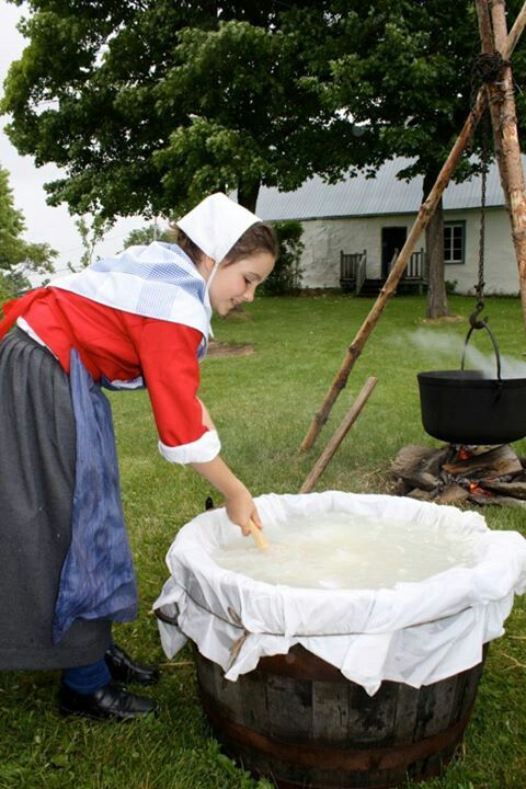 Cheese-making using original first settlers recipe.  Ile d'Orleans, Quebec.