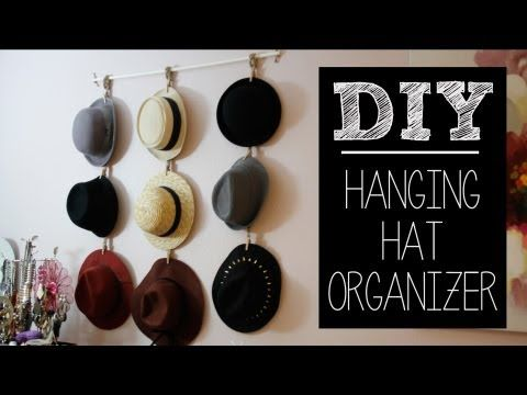 DIY Hat Hanger/Organizer (Easy)   beautybitten - YouTube (simplify this idea by using ribbon instead of braiding twine, paint clothespins fun colors)