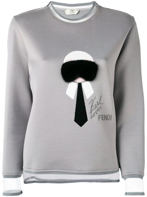 FENDI 'Karl' Fur Trim Sweatshirt. #fendi #cloth #sweatshirt