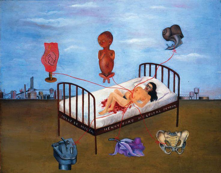 Ospedale Henry Ford (Letto volante), di Frida Kahlo (1932) Un letto sospeso a mezz'aria, come se non stesse sostenendo tutto il peso del dolore della scena Frida Kahlo rappresenta: lei, su quel letto, ha appena subìto un aborto. Pericoloso per lei avere figli. Sullo sfondo, Detroit, città dove si trasferì per seguire la carriera artistica del compagno di una vita, Diego Rivera