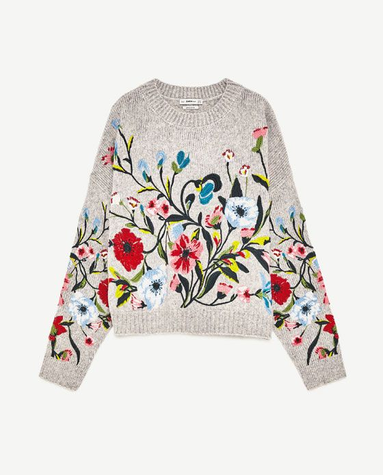 Image 8 of SWEATER WITH EMBROIDERED FLOWERS from Zara