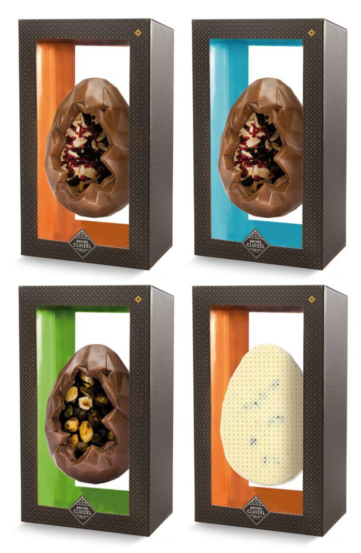 Collection Trésor de Michel Cluizel : œufs présentés telles des ressources minéralogiques et gemmologiques. 19€30 l'œuf de 130g.