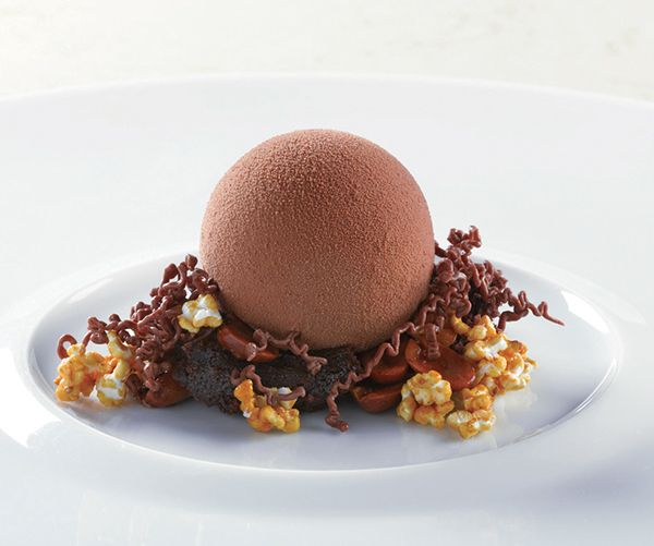 Dessert Professional | The Magazine Online - Dark Milk Chocolate Milk Chocolate Mousse, Dark Caramel, Candied Peanuts, Warm Malted Caramel
