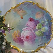 """Classic Antique Limoges Beauty Famous French Artist Signed """"A. BRONSSILLON"""" Sumptuous Masterpiece """"ROMANTIC TEA ROSES"""" Wall PLAQUE Charger Plate Hand-painted Victorian Floral Art Fine Porcelain Heirloom China Circa 1800's"""