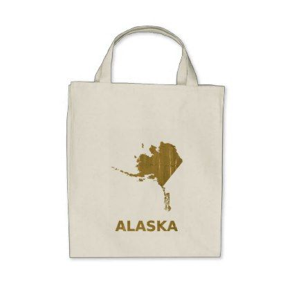 Alaska map outline Sunny orange clouded watercolor Tote Bag - light gifts template style unique special diy