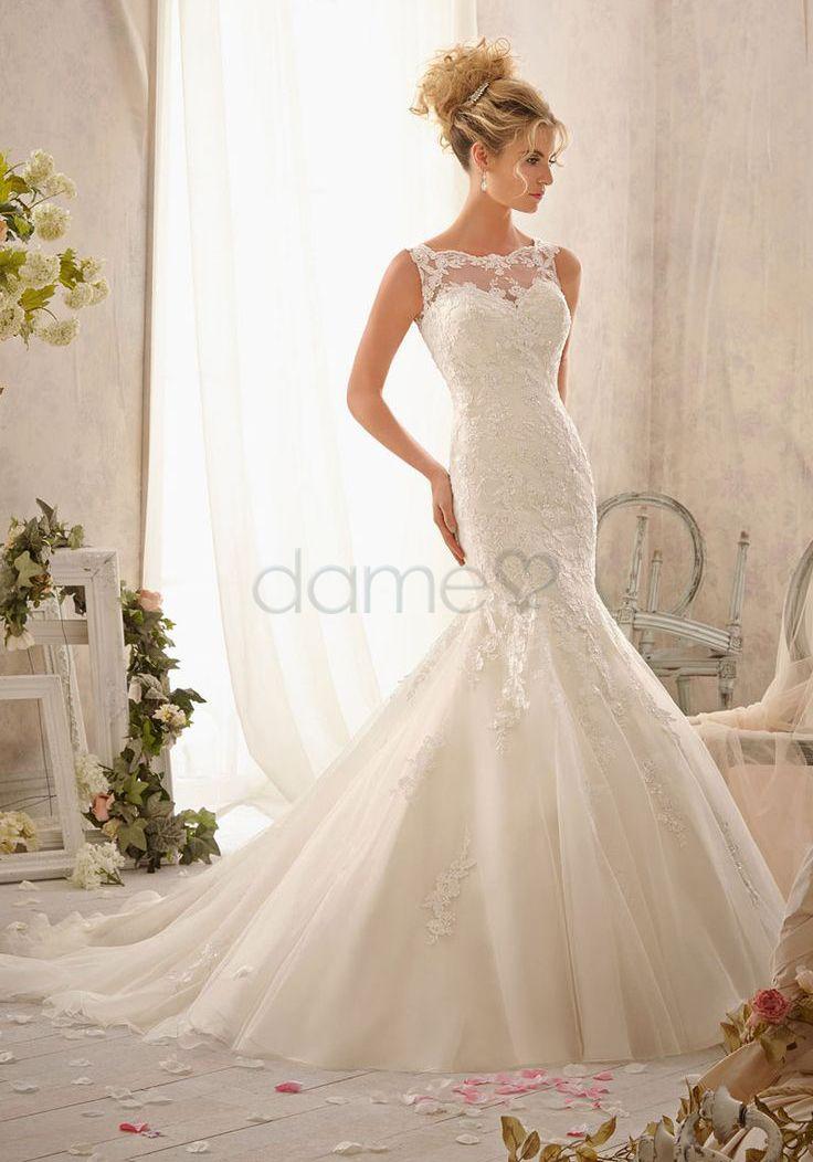 Tüll Etui Meerjungfrau keine Taille Spitze rückenfreies bodenlanges Brautkleider