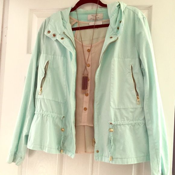Trafaluc (Zara) mint parka! Great for fall! Only worn a couple times, still in great condition! Temporary price drop for Cyber Monday! Zara Jackets & Coats