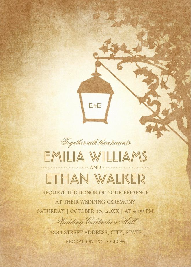 Vintage Wedding Invitations - Rustic Lantern On Tree Creative Country Wedding Cards. Custom invitations for rustic, fall, garden, outdoor, country or any wedding. #weddinginvitations